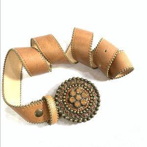 "Leatherock Brown Leather Crystal Buckle Belt 38"""